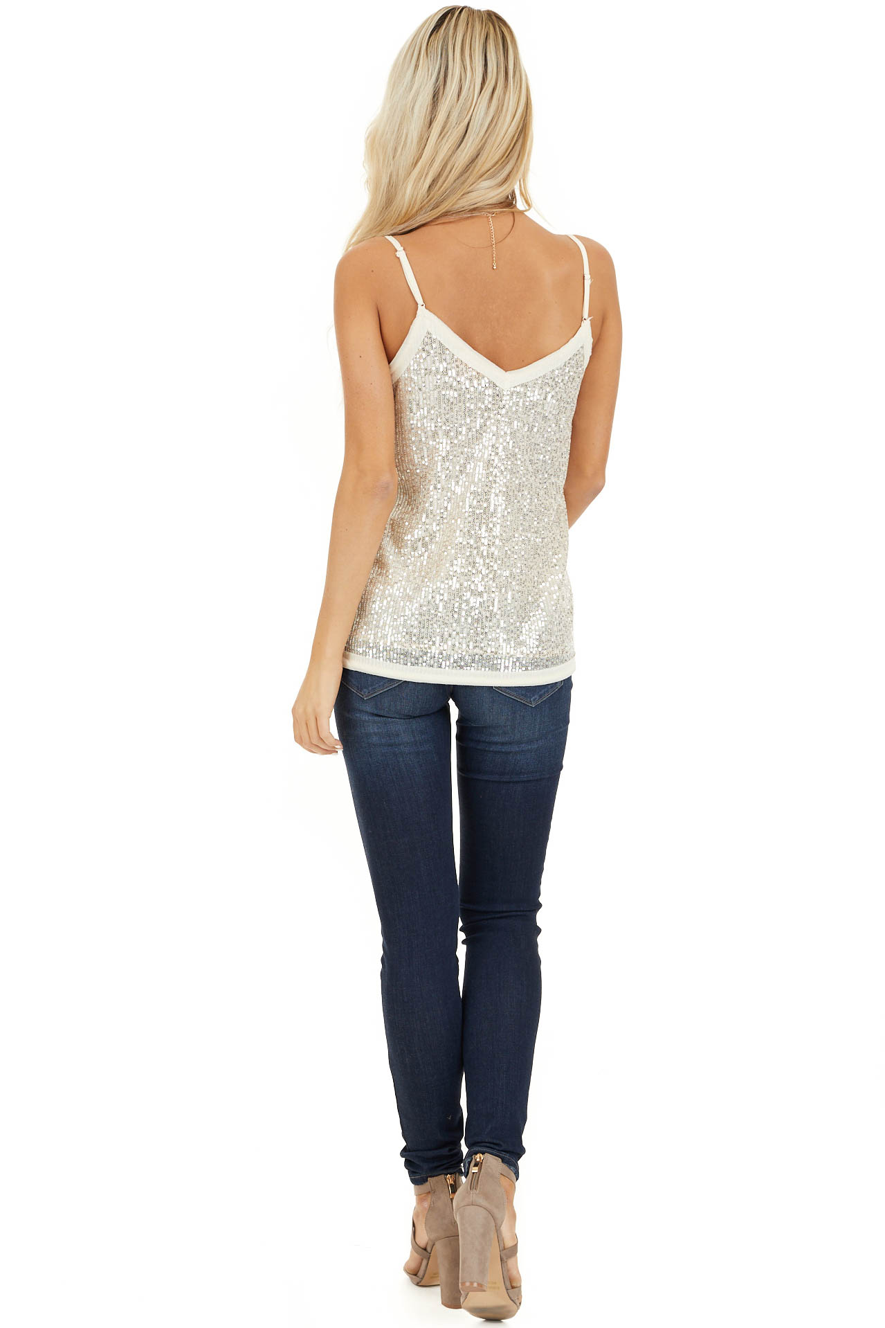 Champagne Sequin Cami Top with V Neckline and Chiffon Trim back full body