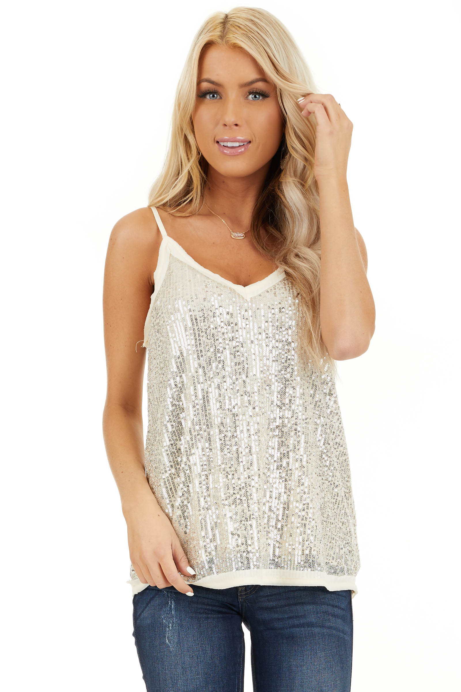 Champagne Sequin Cami Top with V Neckline and Chiffon Trim front close up
