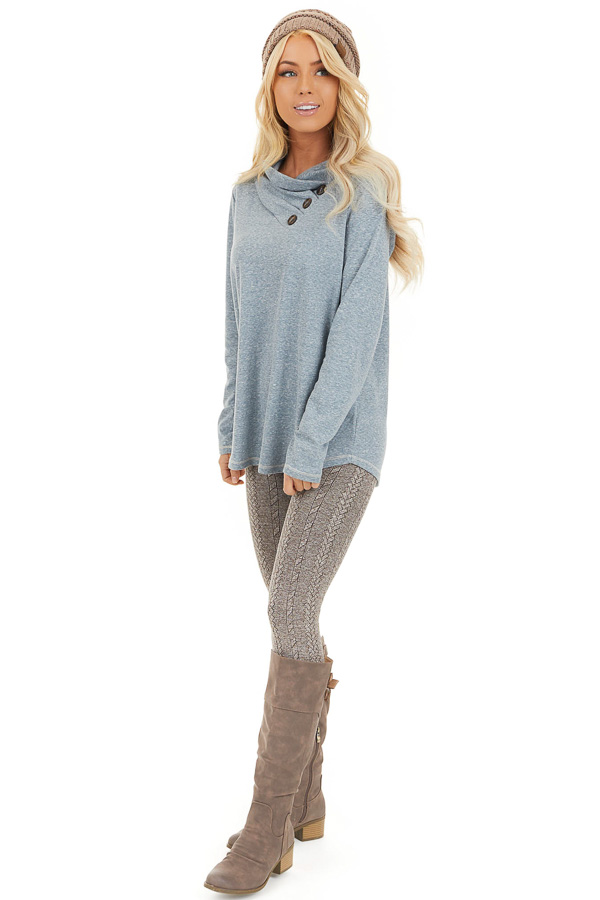Vintage Blue Long Sleeve Top with Asymmetrical Button Detail front full body