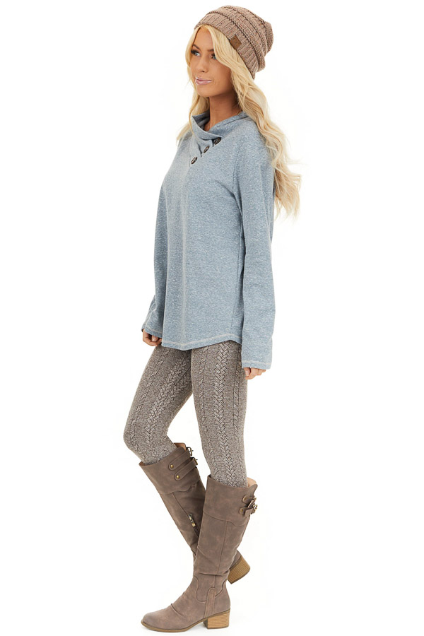 Vintage Blue Long Sleeve Top with Asymmetrical Button Detail side full body
