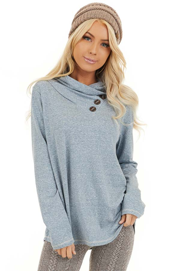 Vintage Blue Long Sleeve Top with Asymmetrical Button Detail front close up