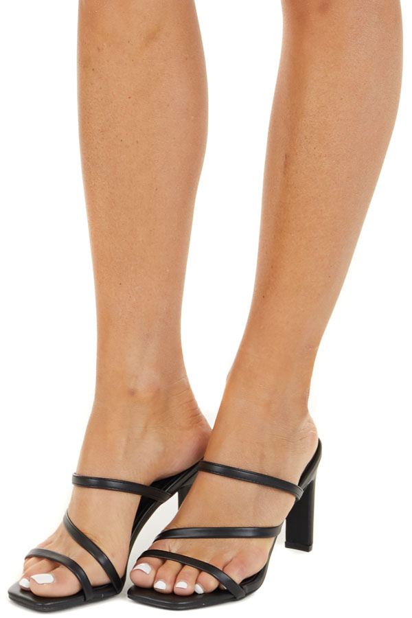 Black Strappy Open Toe High Heel Pumps side view