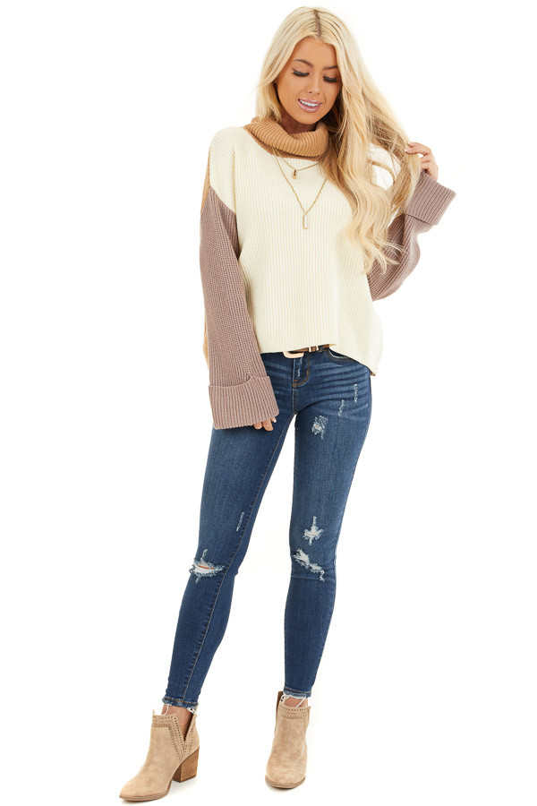 Cream and Taupe Color Block Turtleneck Pullover Sweater front full body