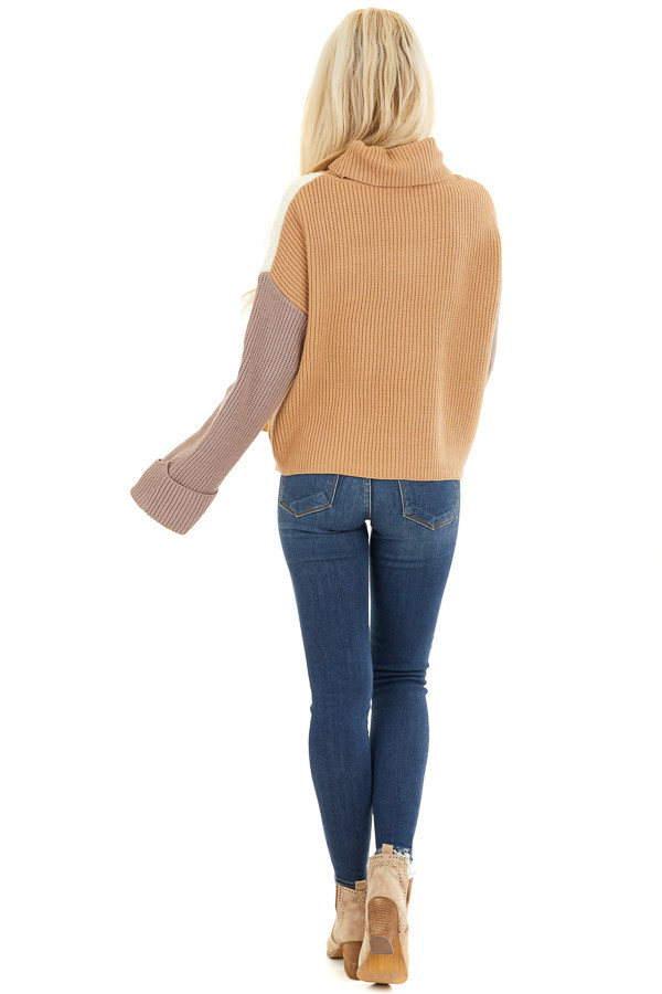 Cream and Taupe Color Block Turtleneck Pullover Sweater back full body