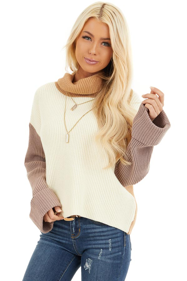 Cream and Taupe Color Block Turtleneck Pullover Sweater front close up