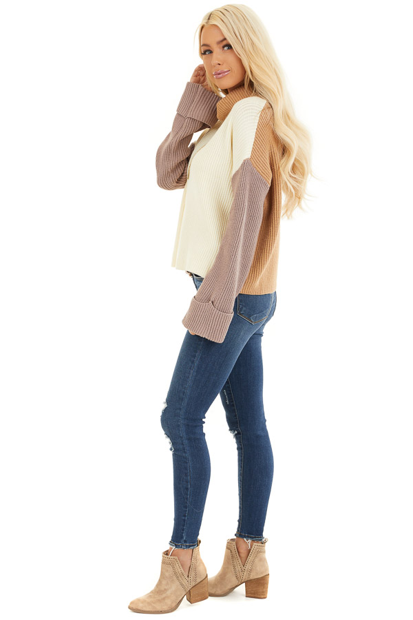 Cream and Taupe Color Block Turtleneck Pullover Sweater side full body