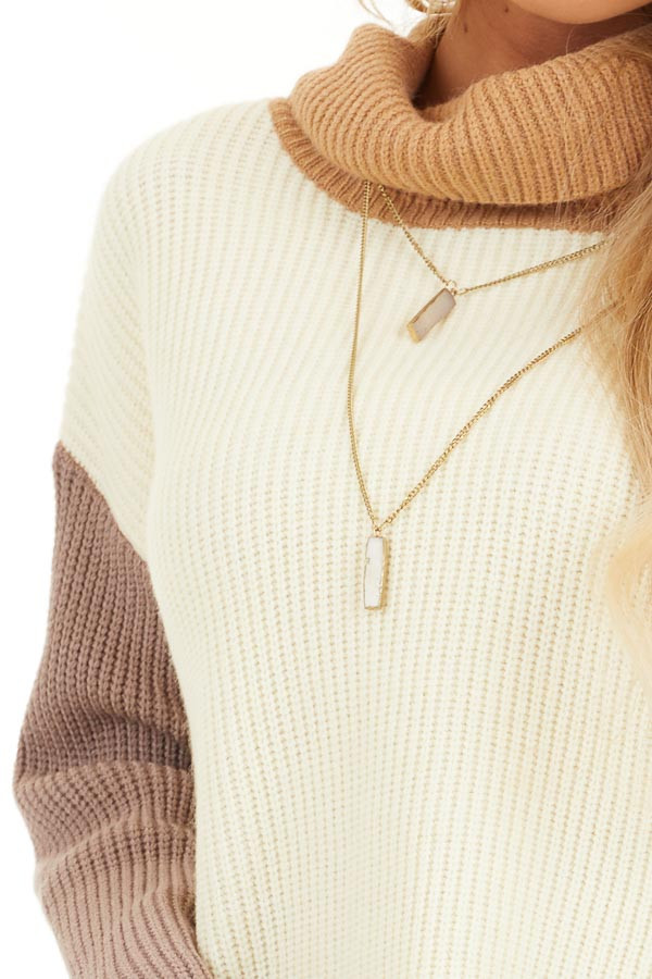 Cream and Taupe Color Block Turtleneck Pullover Sweater detail