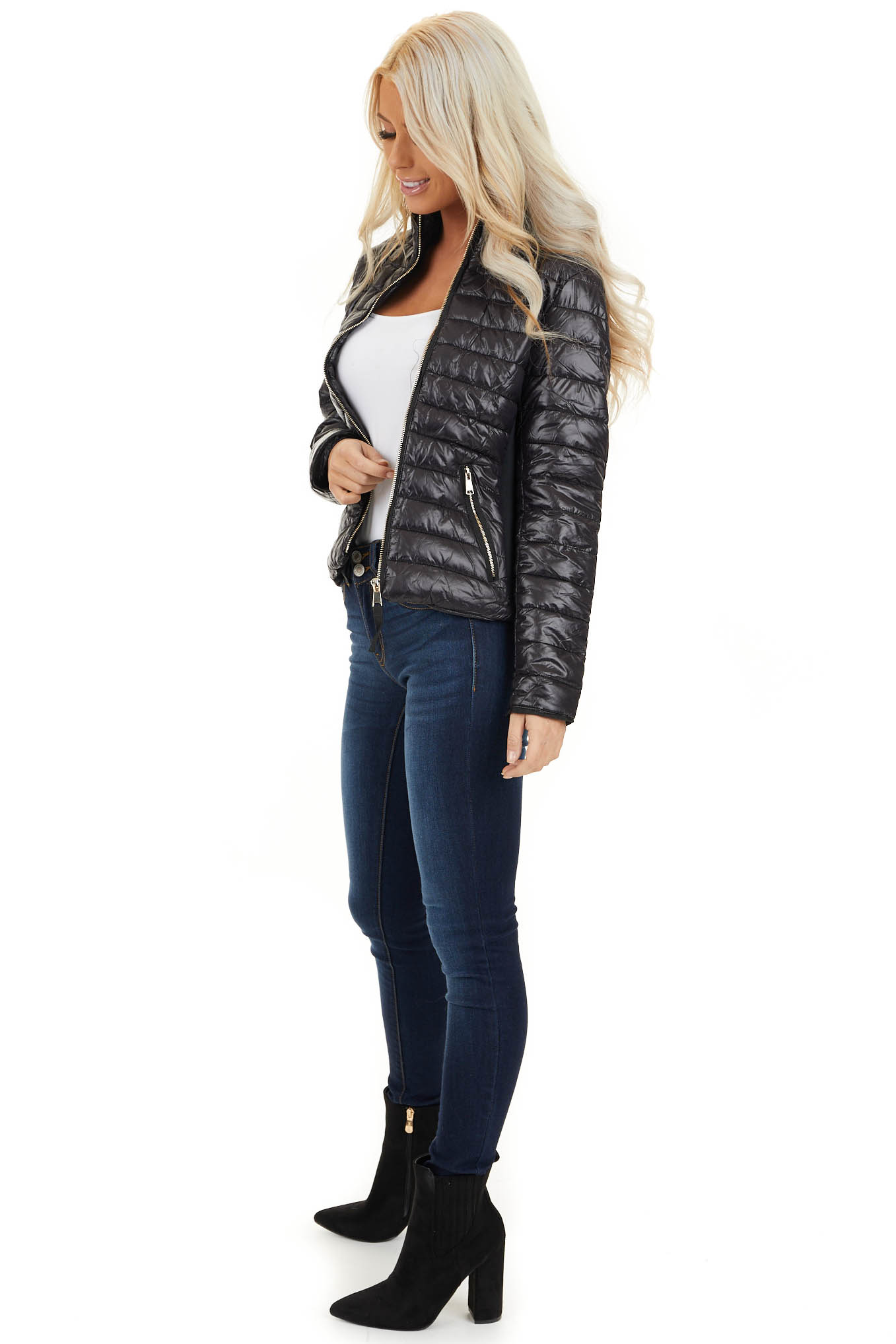 Black Shiny Puffy Jacket with Ribbed Knit Contrast side full body