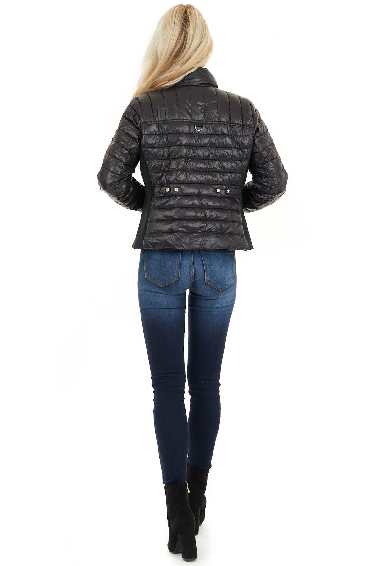 Black Shiny Puffy Jacket with Ribbed Knit Contrast back full body