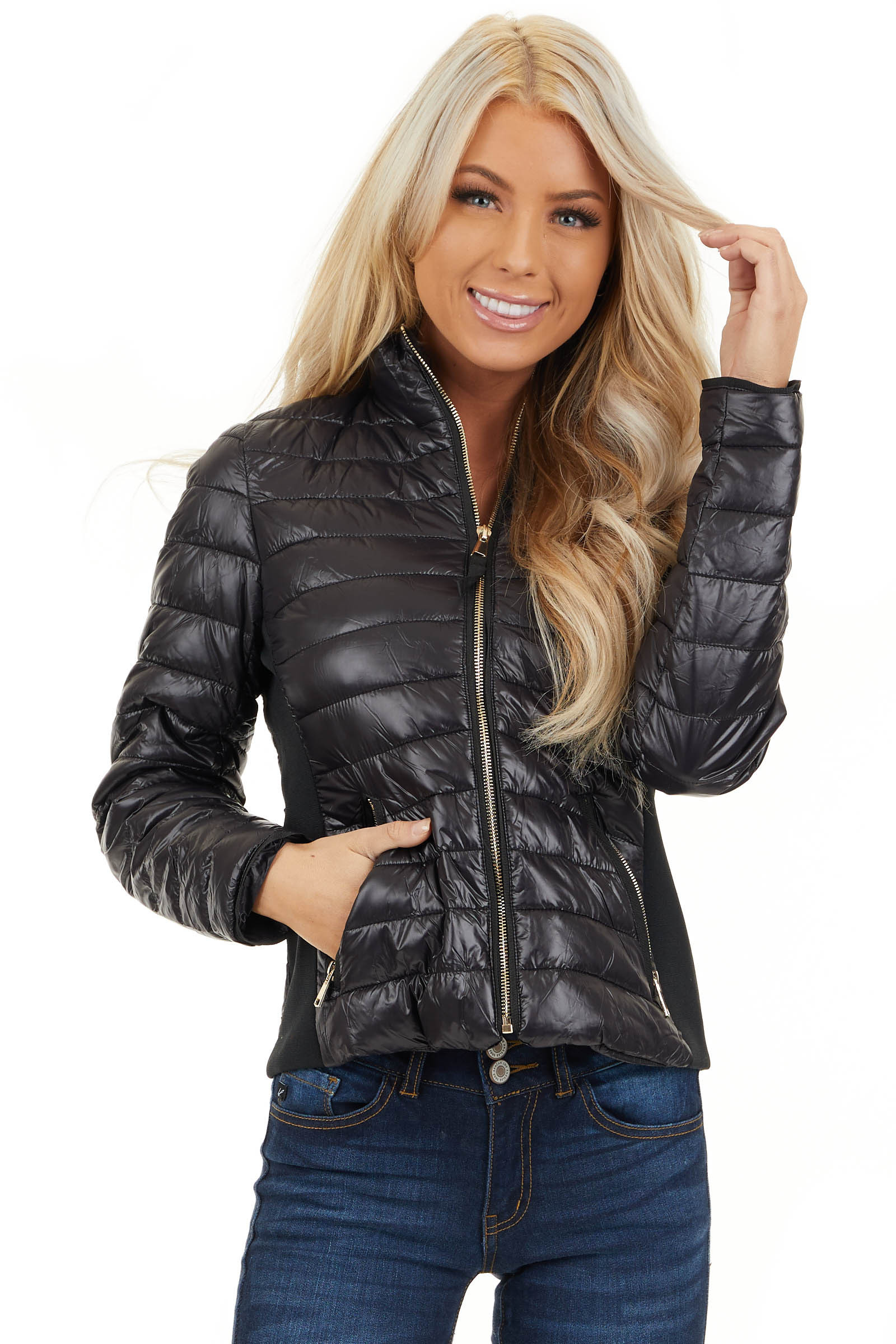 Black Shiny Puffy Jacket with Ribbed Knit Contrast front close up