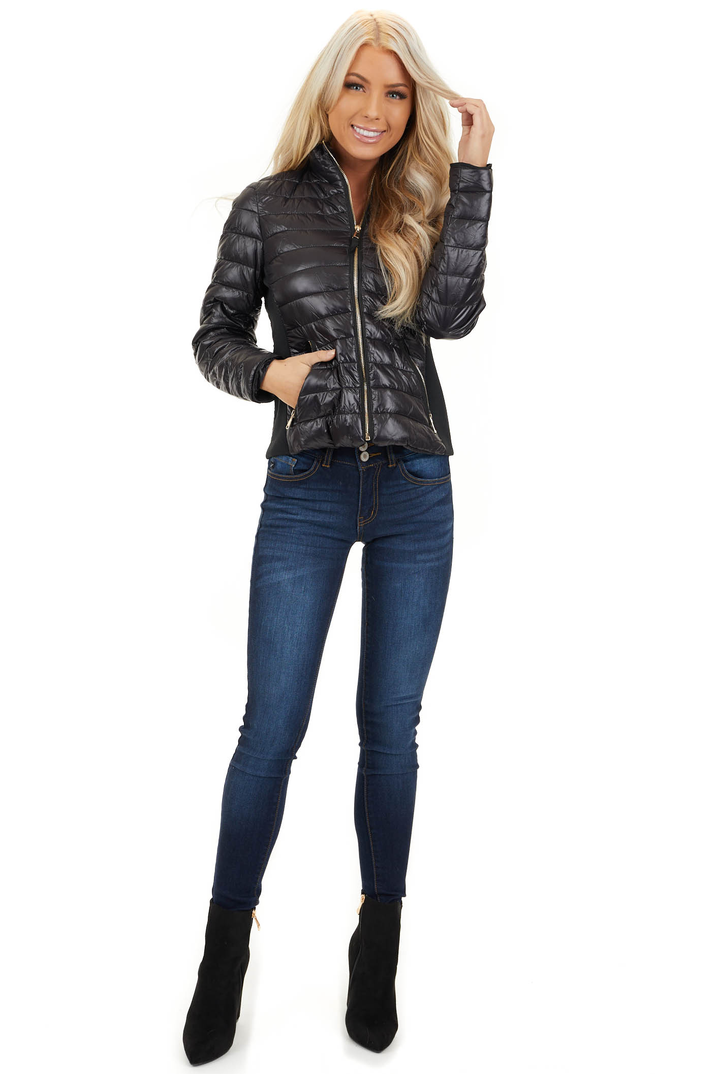 Black Shiny Puffy Jacket with Ribbed Knit Contrast front full body