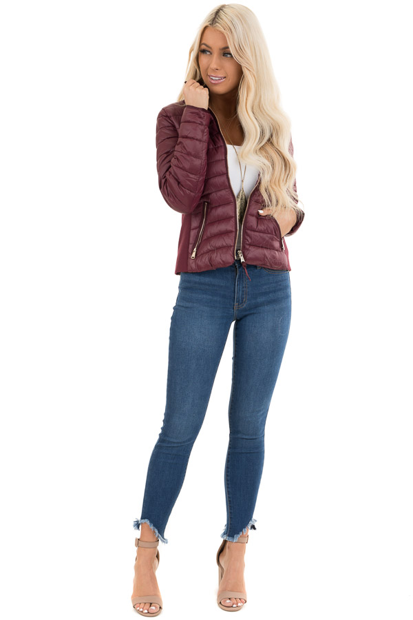 Wine Shiny Puffy Jacket with Ribbed Knit Contrast front full body