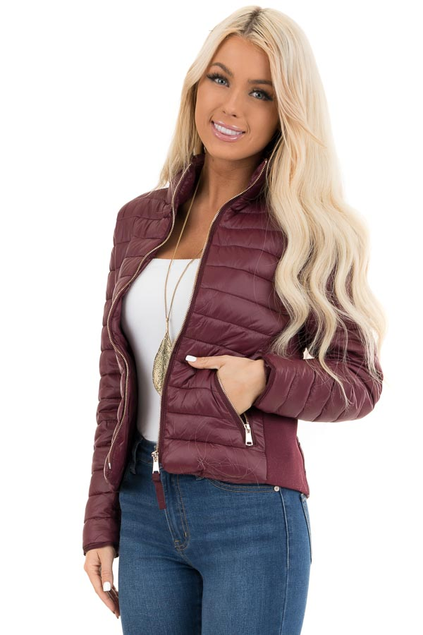 Wine Shiny Puffy Jacket with Ribbed Knit Contrast front close up