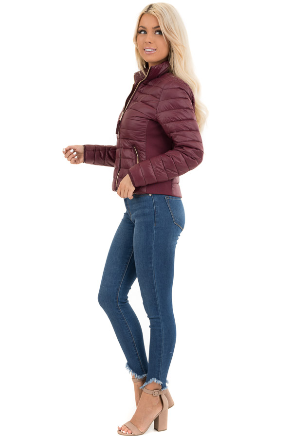 Wine Shiny Puffy Jacket with Ribbed Knit Contrast side full body