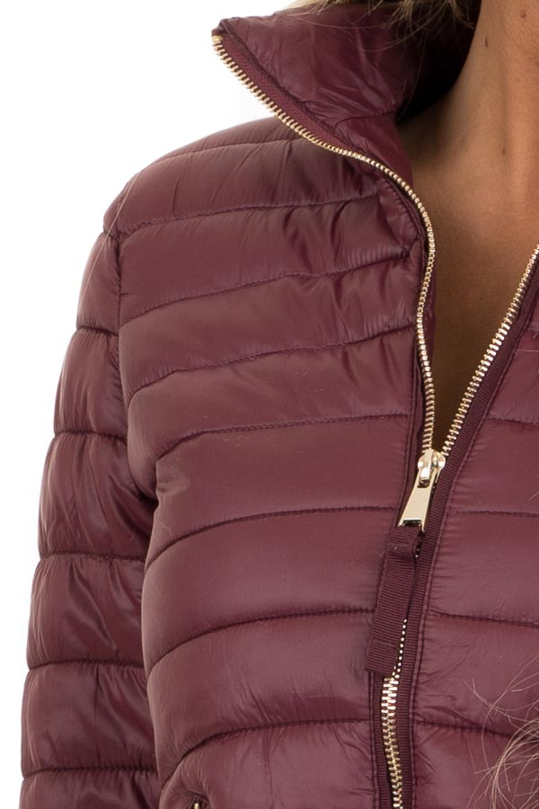 Wine Shiny Puffy Jacket with Ribbed Knit Contrast detail