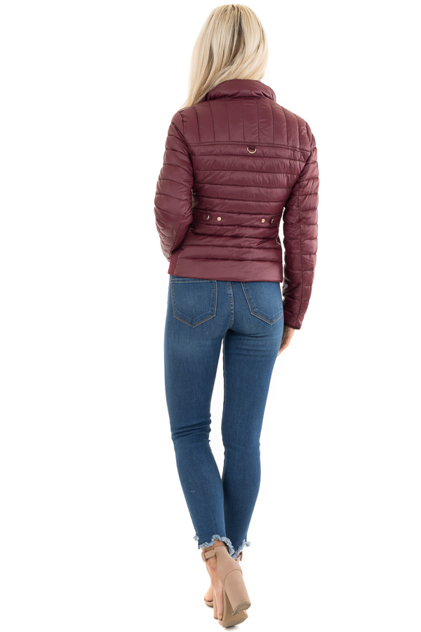Wine Shiny Puffy Jacket with Ribbed Knit Contrast back full body