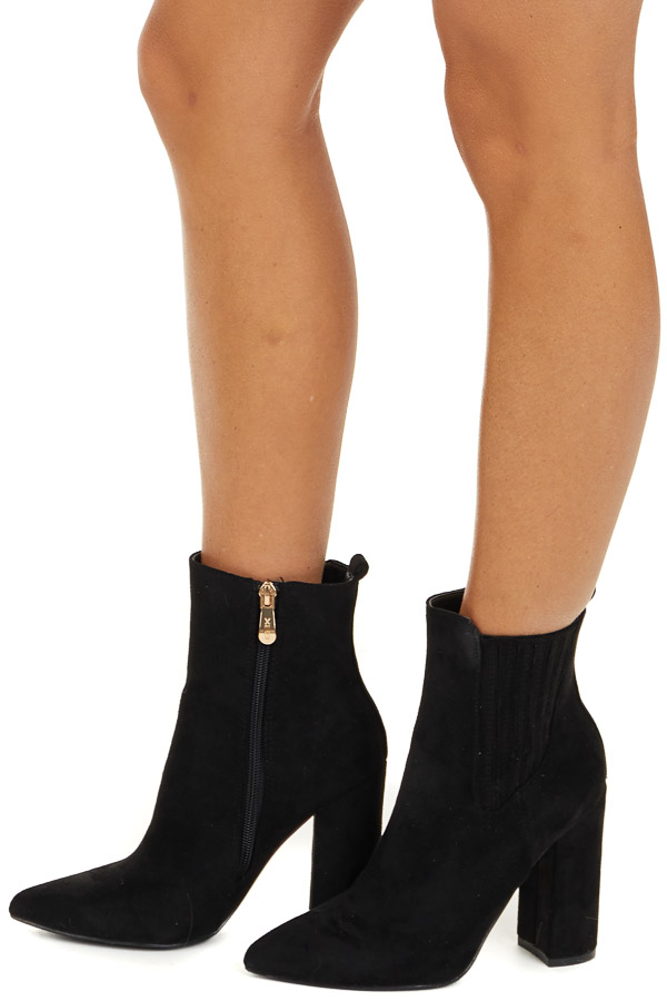 Black Faux Suede Chunky Heel Pointed Toe Booties side view