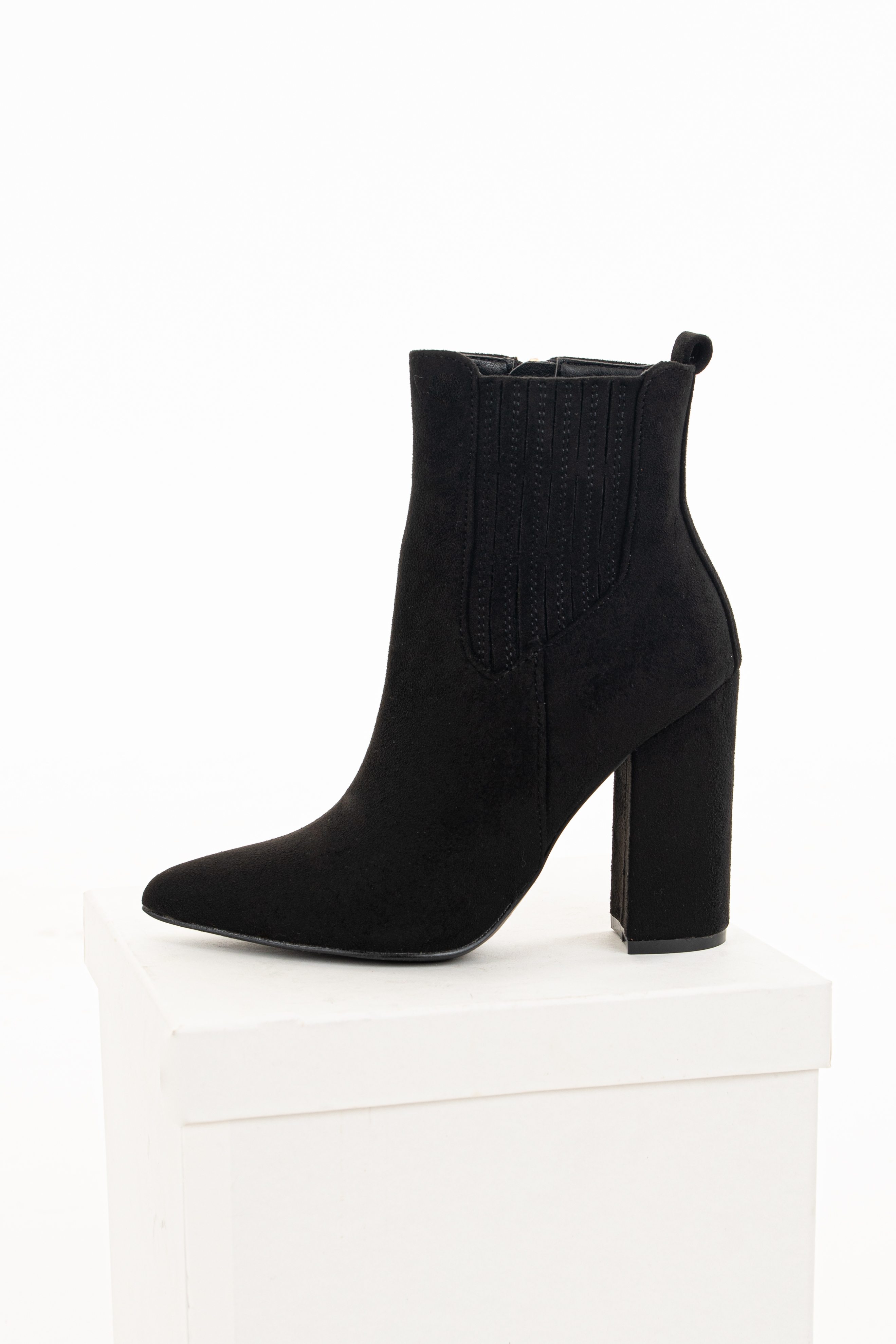 Black Faux Suede Chunky Heel Pointed Toe Booties