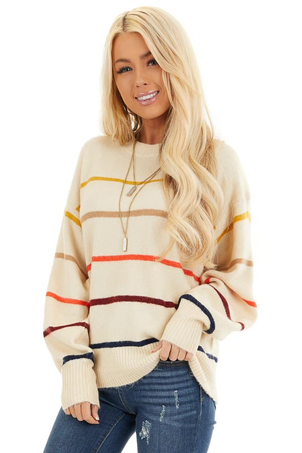 Cream Long Sleeve Sweater Top with Multi Color Stripes front close up