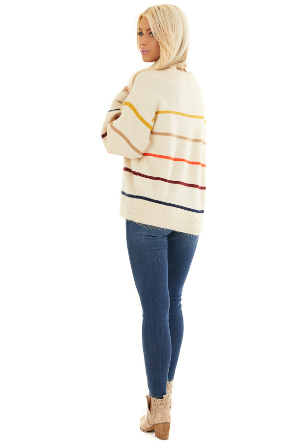 Cream Long Sleeve Sweater Top with Multi Color Stripes back full body