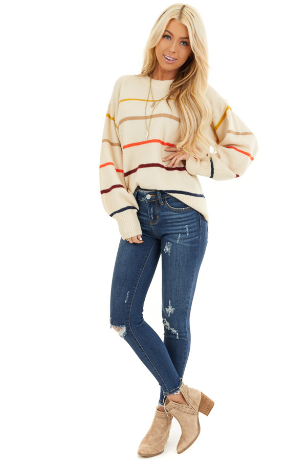 Cream Long Sleeve Sweater Top with Multi Color Stripes front full body