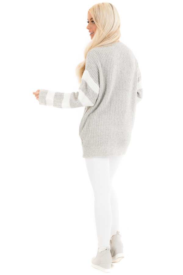 Grey Cable Knit Pullover Sweater with Striped Long Sleeves back full body