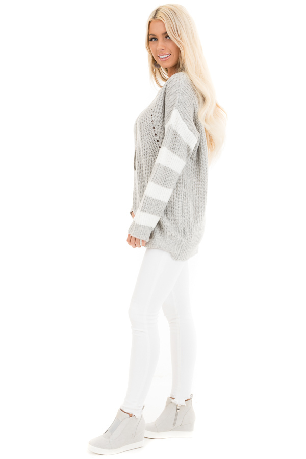 Grey Cable Knit Pullover Sweater with Striped Long Sleeves side full body