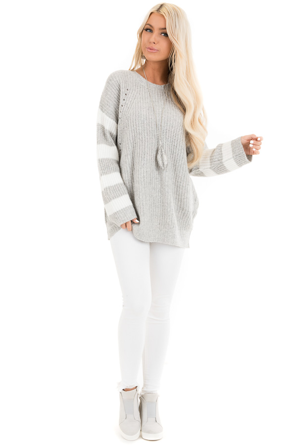Grey Cable Knit Pullover Sweater with Striped Long Sleeves front full body