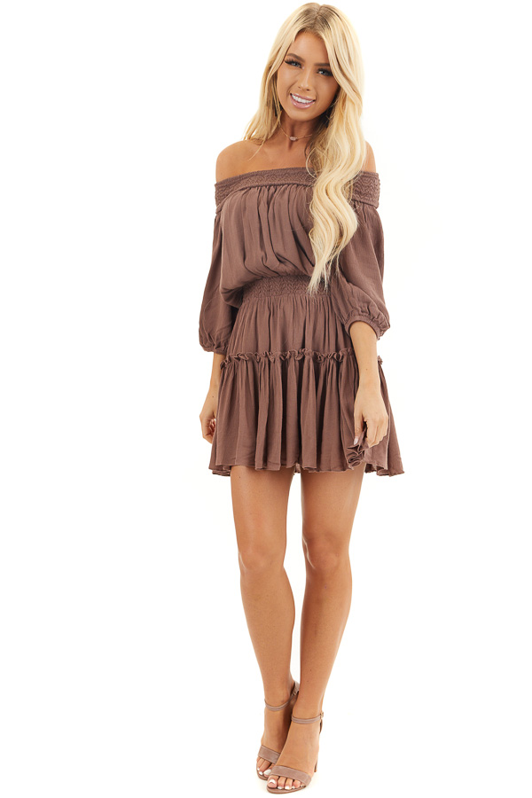 Mocha Off Shoulder Mini Dress with Short Bubble Sleeves front full body