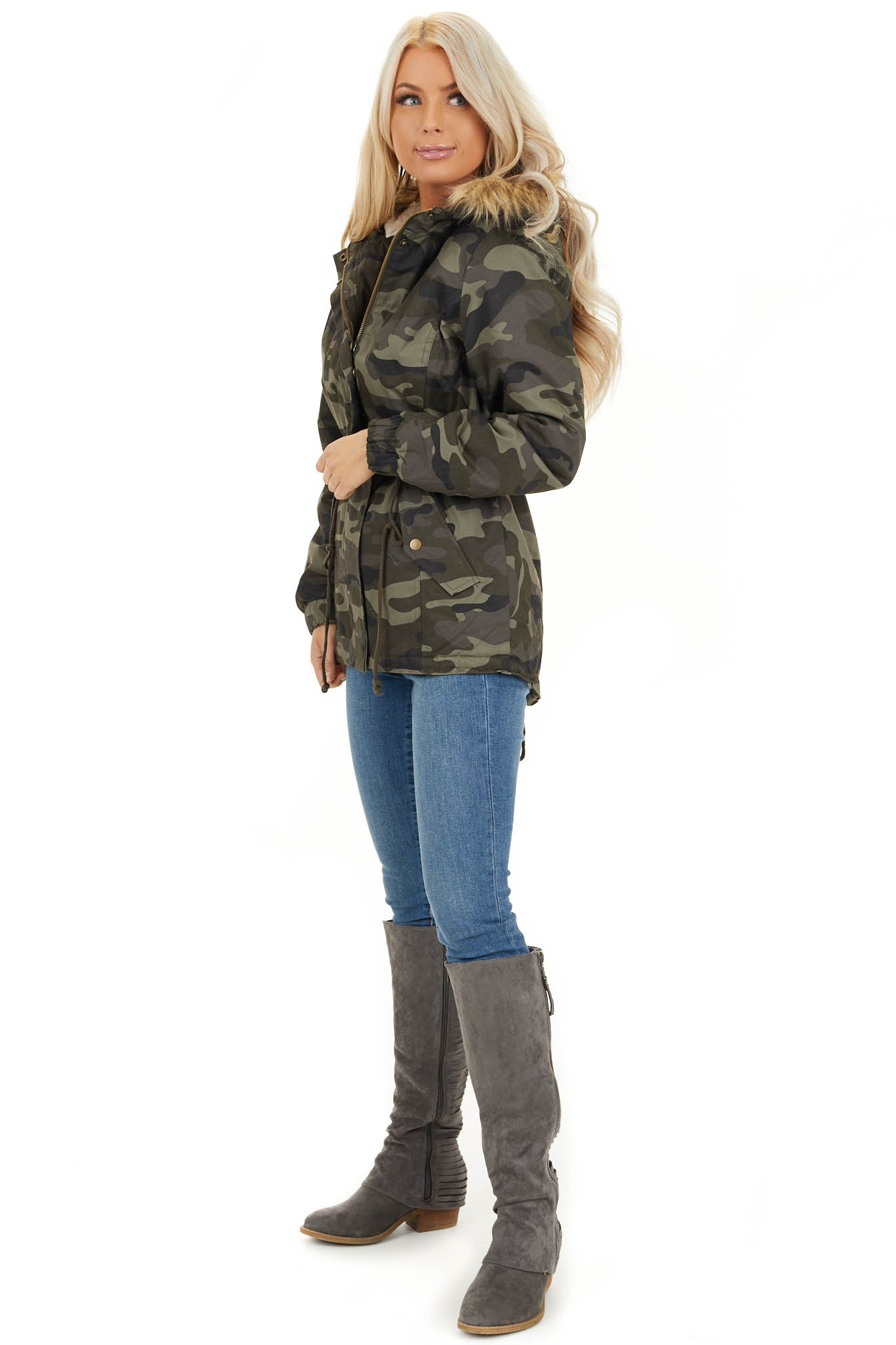 Olive Camo Print Jacket with Faux Fur Hood Detail side full body