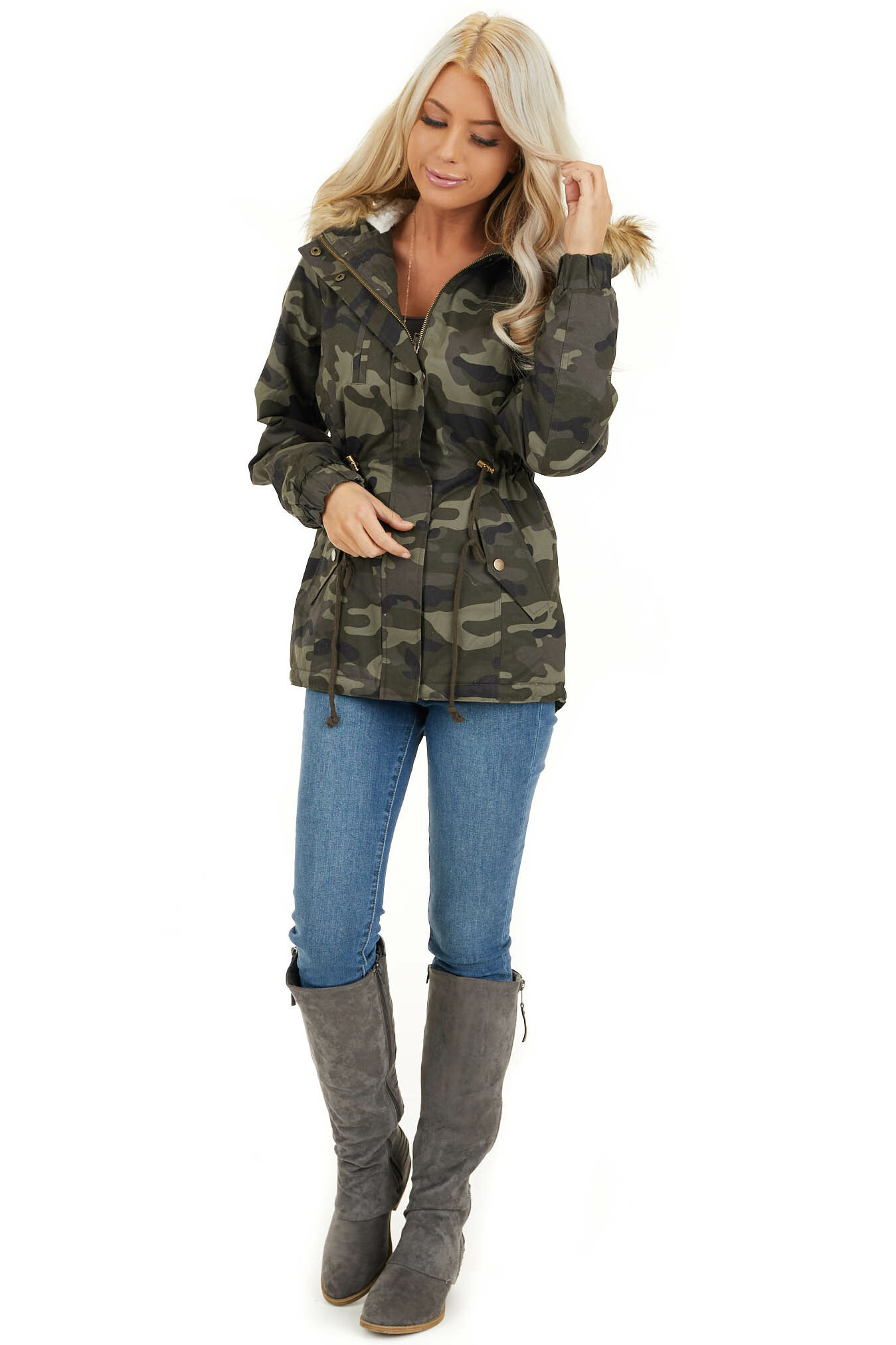 Olive Camo Print Jacket with Faux Fur Hood Detail front full body