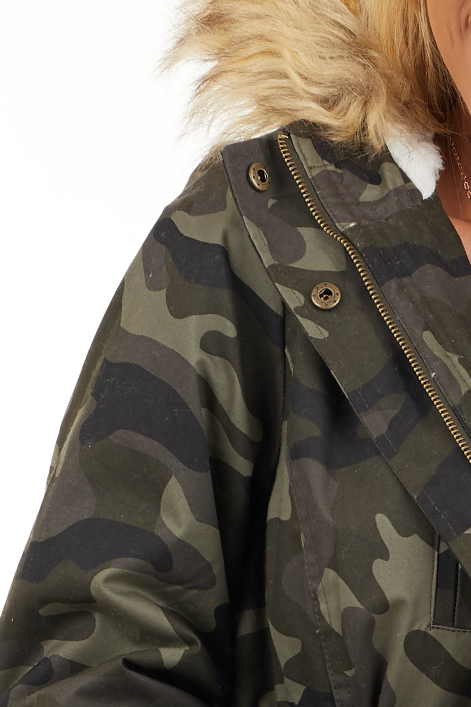 Olive Camo Print Jacket with Faux Fur Hood Detail detail