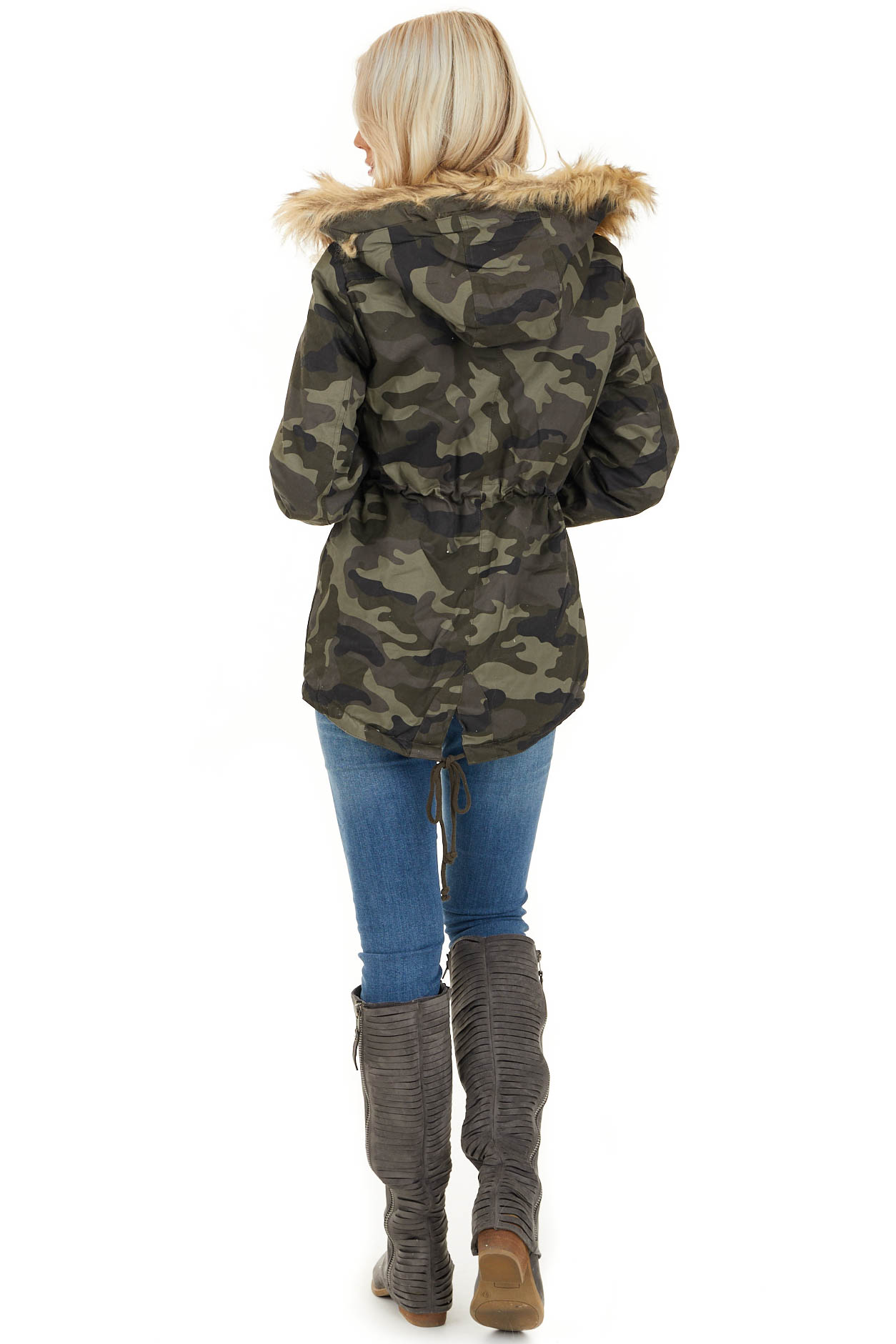 Olive Camo Print Jacket with Faux Fur Hood Detail back full body