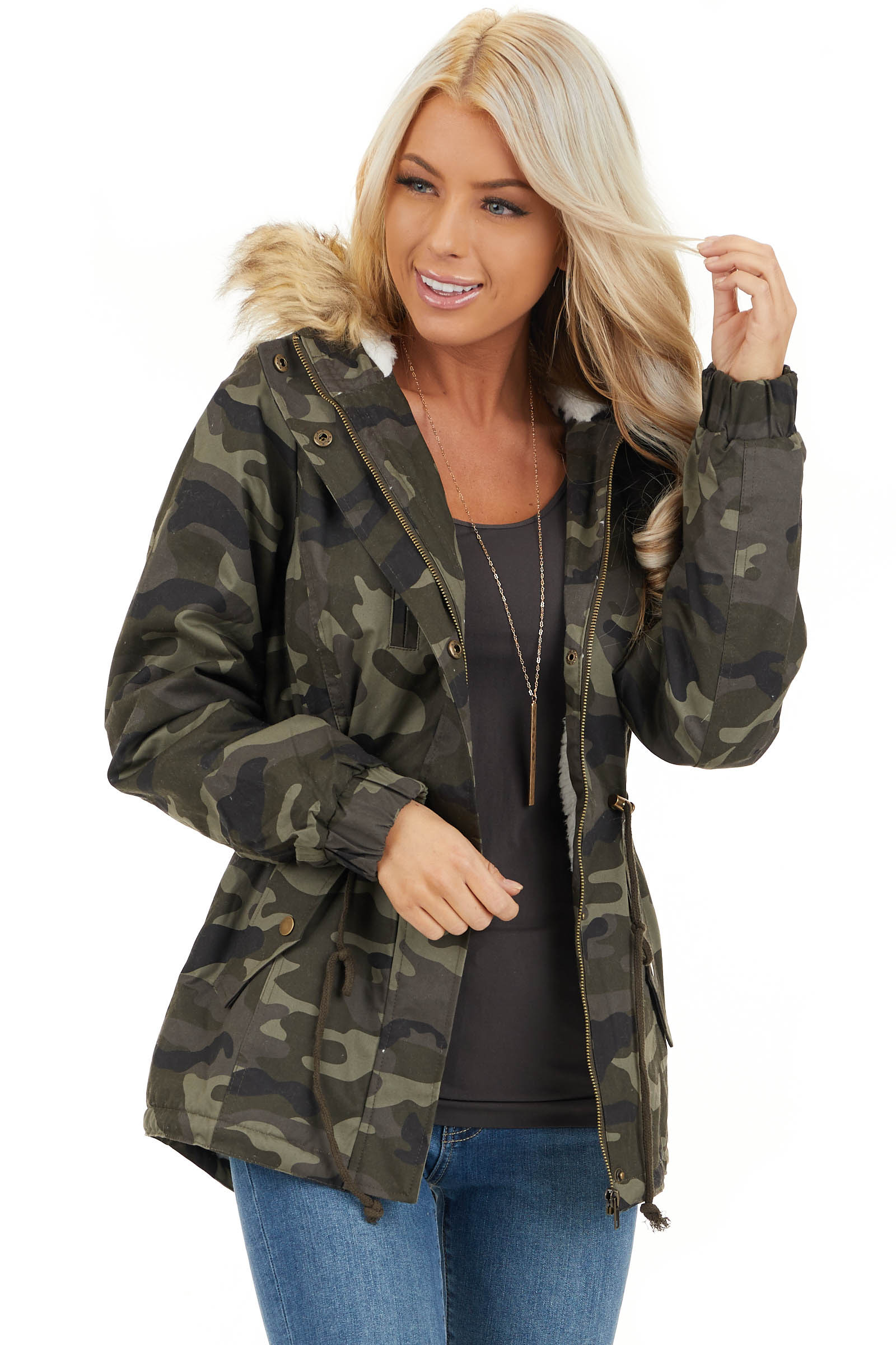 Olive Camo Print Jacket with Faux Fur Hood Detail front close up