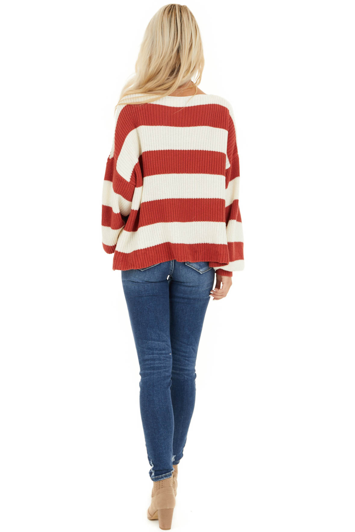 Ivory and Rust Striped Knit Sweater with Puff Sleeves back full body