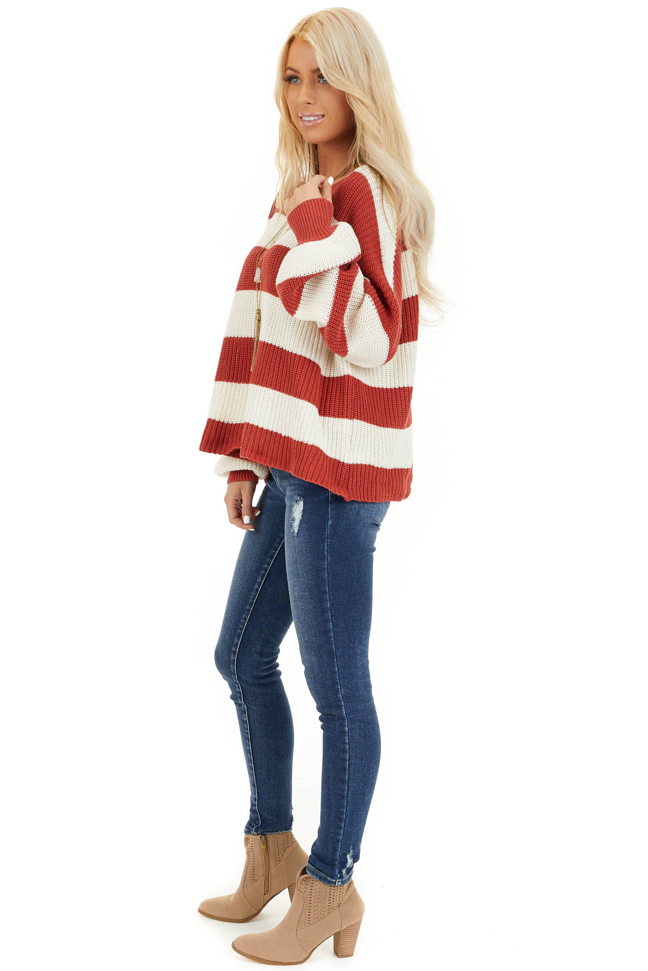 Ivory and Rust Striped Knit Sweater with Puff Sleeves side full body