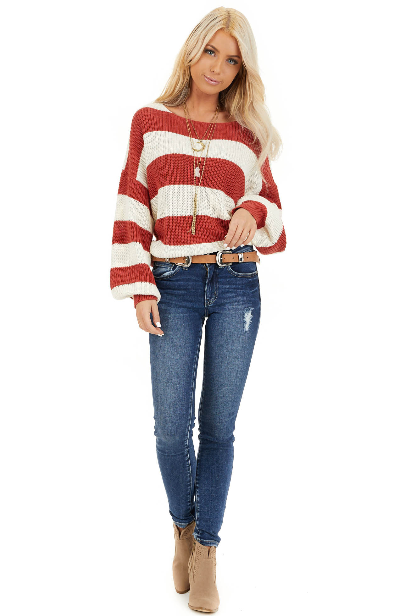 Ivory and Rust Striped Knit Sweater with Puff Sleeves front full body