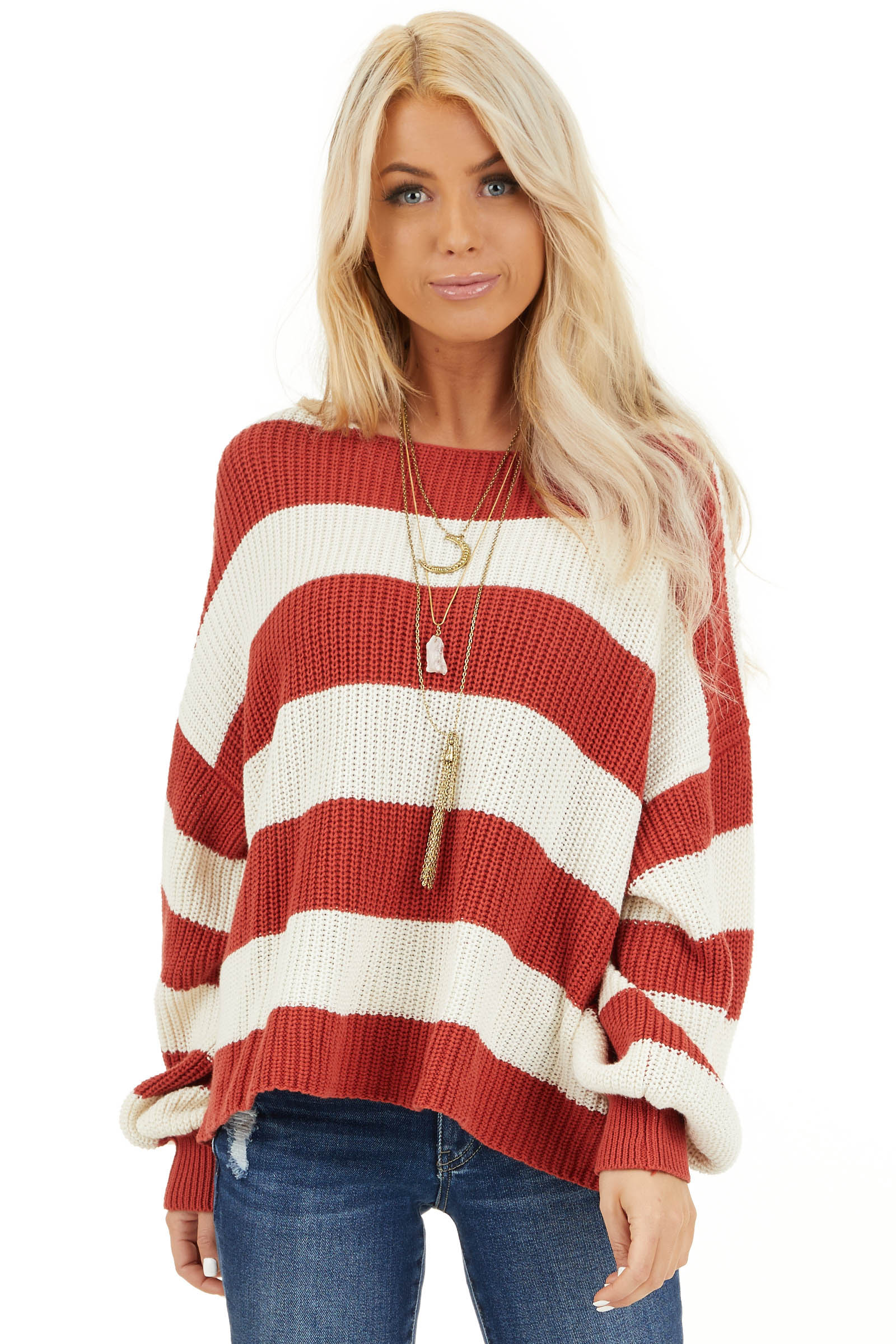 Ivory and Rust Striped Knit Sweater with Puff Sleeves front close up