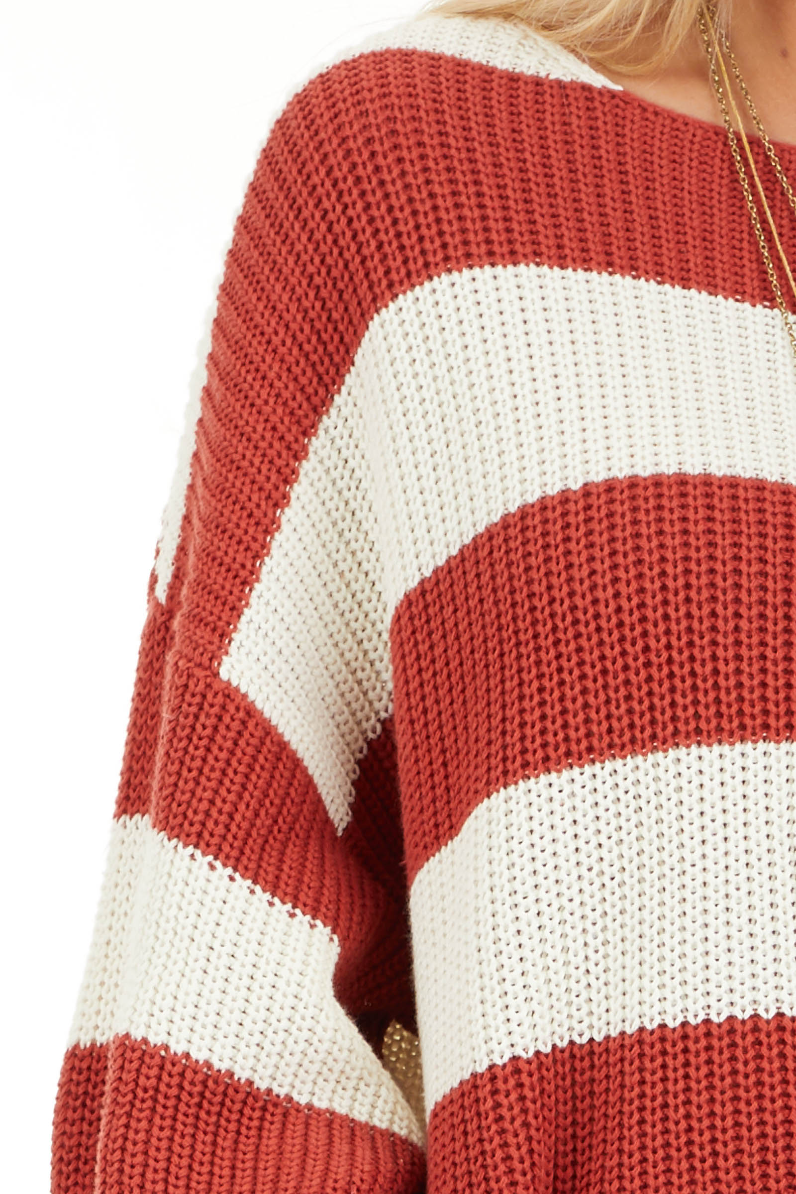 Ivory and Rust Striped Knit Sweater with Puff Sleeves detail