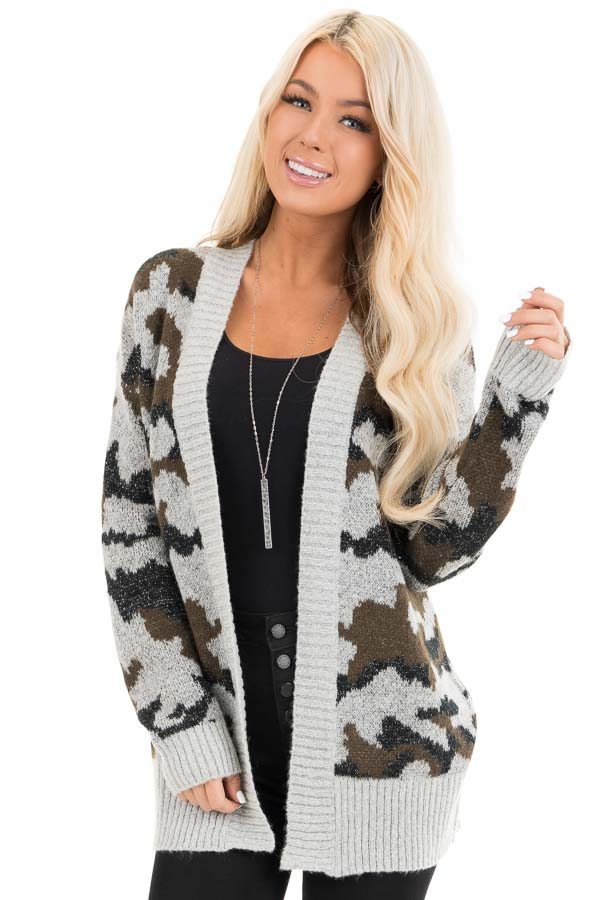Grey and Olive Shimmering Camo Open Front Knit Cardigan front close up