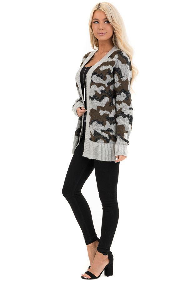Grey and Olive Shimmering Camo Open Front Knit Cardigan side full body