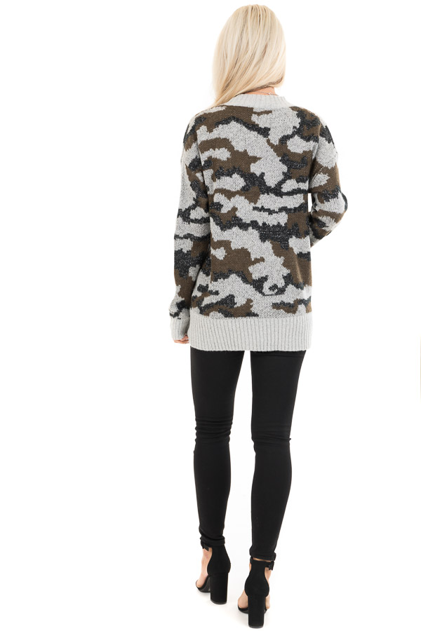 Grey and Olive Shimmering Camo Open Front Knit Cardigan back full body