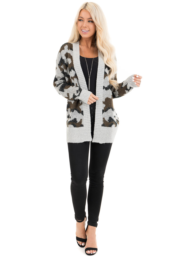 Grey and Olive Shimmering Camo Open Front Knit Cardigan front full body