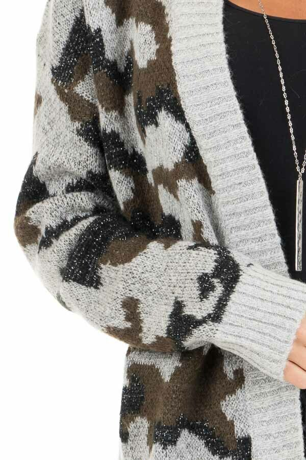 Grey and Olive Shimmering Camo Open Front Knit Cardigan detail