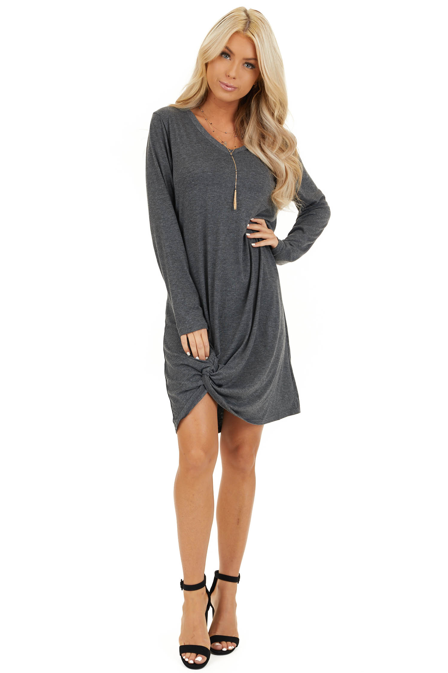 Charcoal Long Sleeve V Neck Dress with Hemline Twist Detail front full body