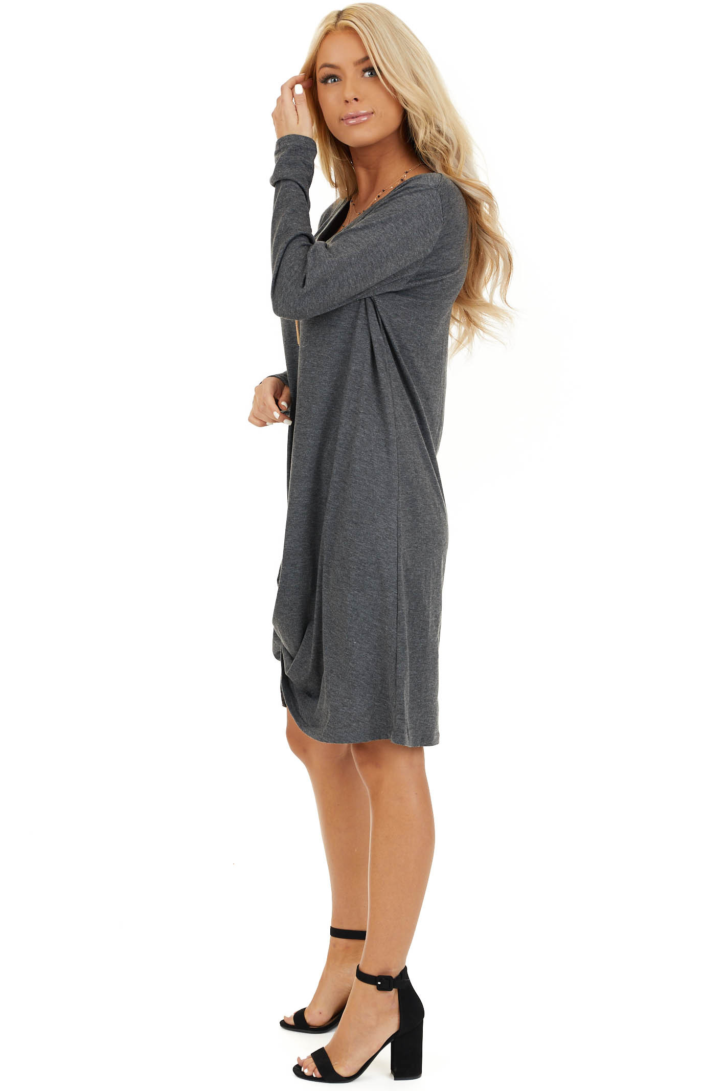 Charcoal Long Sleeve V Neck Dress with Hemline Twist Detail side full body