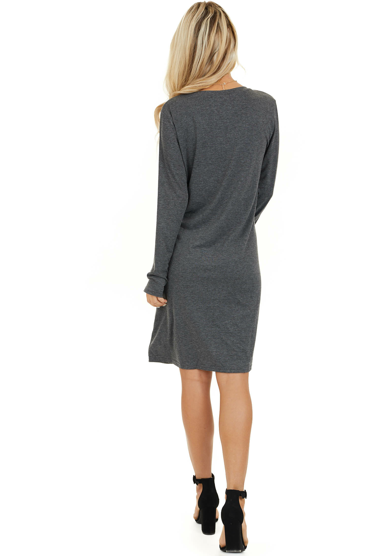 Charcoal Long Sleeve V Neck Dress with Hemline Twist Detail back full body