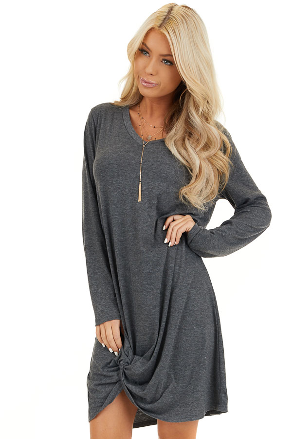Charcoal Long Sleeve V Neck Dress with Hemline Twist Detail front close up