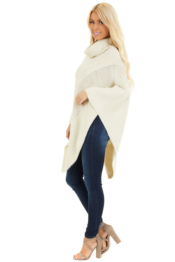 Cream Cable Knit Poncho with Turtleneck Detail side full body