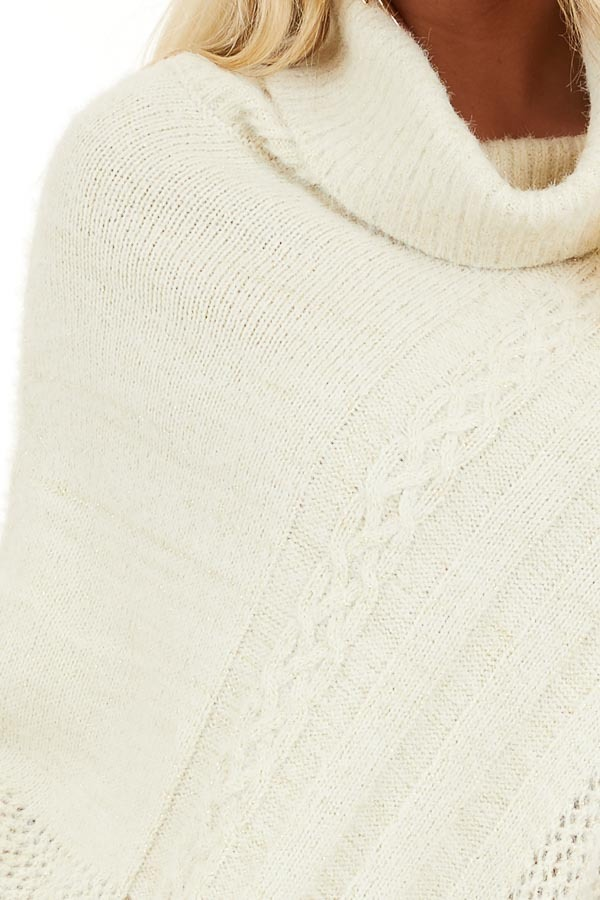Cream Cable Knit Poncho with Turtleneck Detail detail